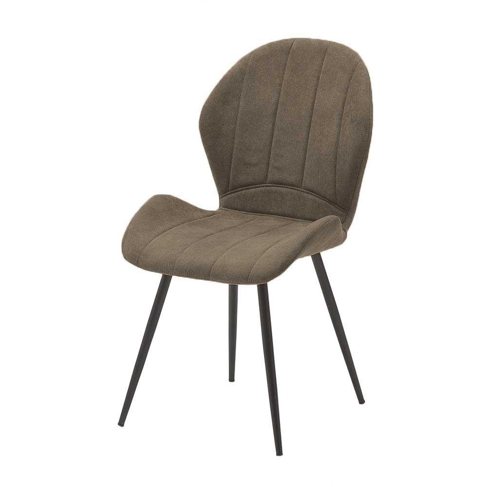 Esstisch Stühle in Beige und Anthrazit Microfaser und Metall (2er Set)