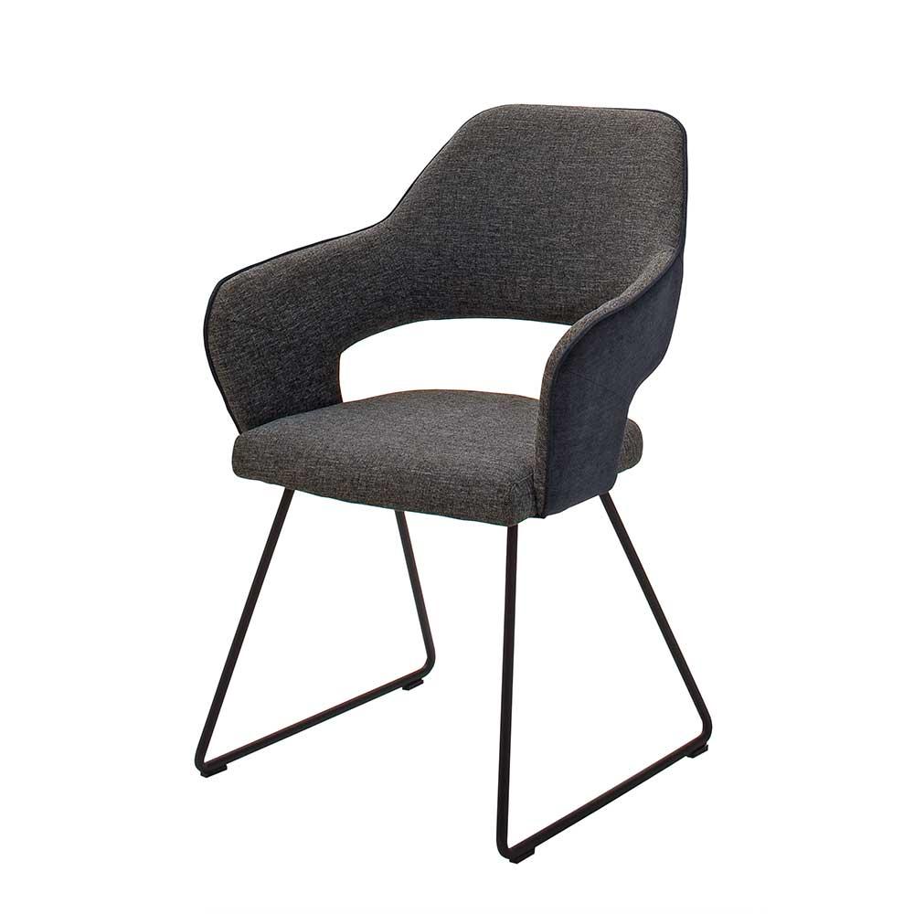 Esstisch Stühle in Anthrazit Strukturstoff Metallgestell (2er Set)