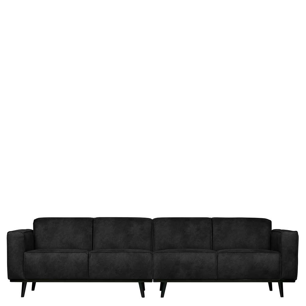 Couch in Schwarz Recyclingleder Armlehnen