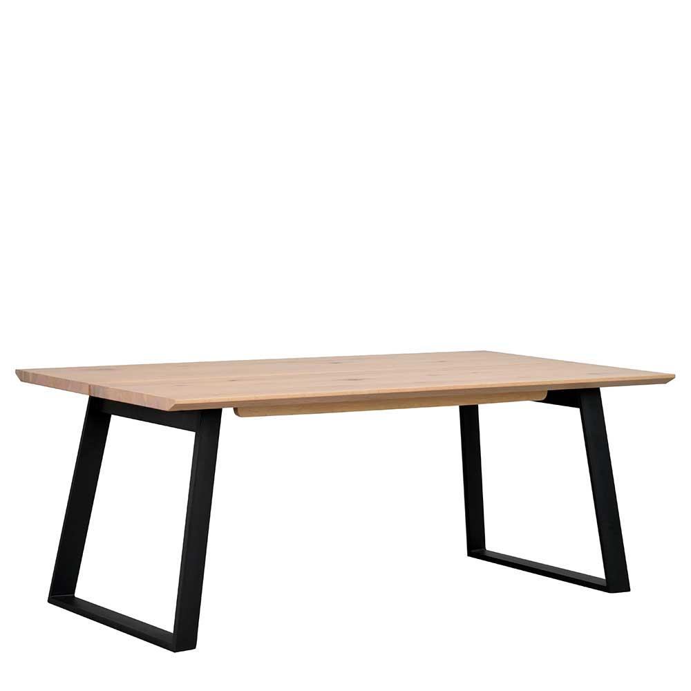 Esstisch in Schwarz Holz White Wash