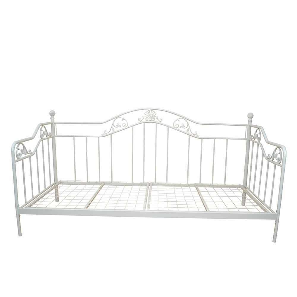 Einzelbett im Vintage Design Metall in Weiß