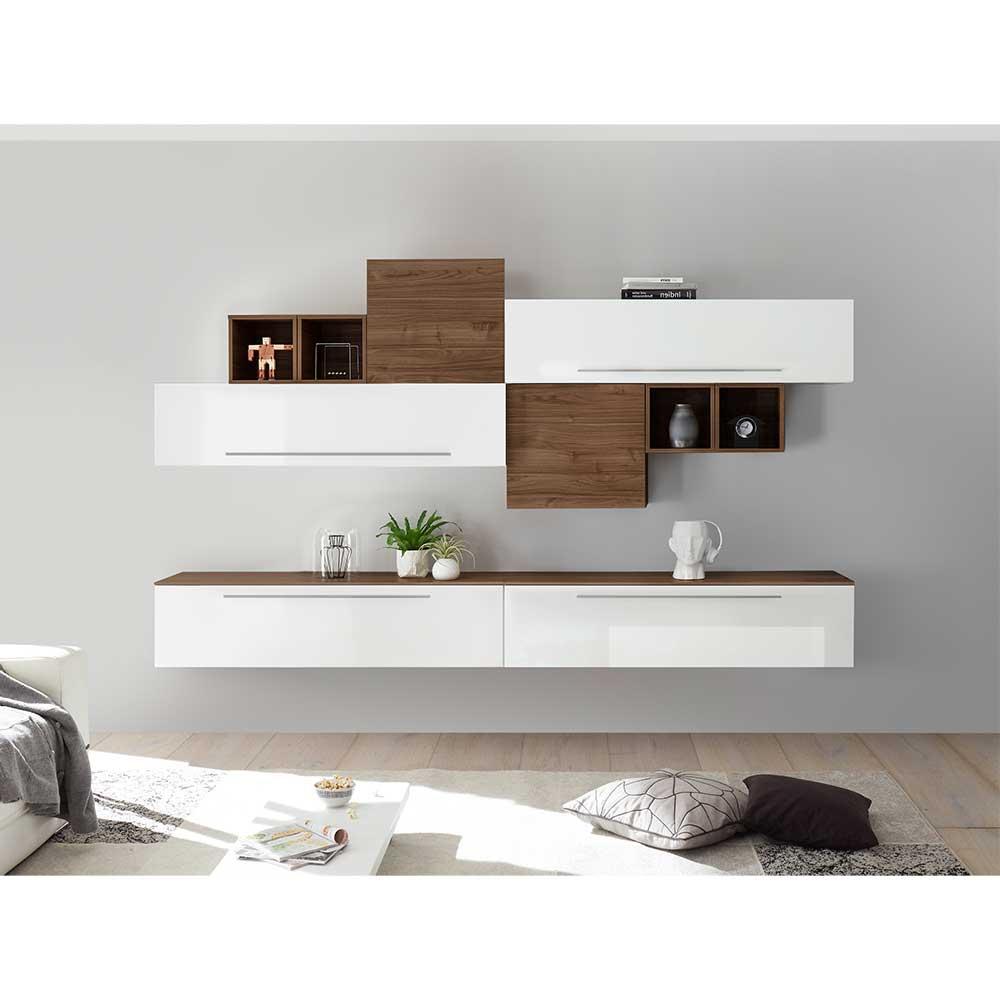 Hängende Wohnwand in Weiß Hochglanz und Nussbaumfarben 200 cm hoch (zehnteilig)