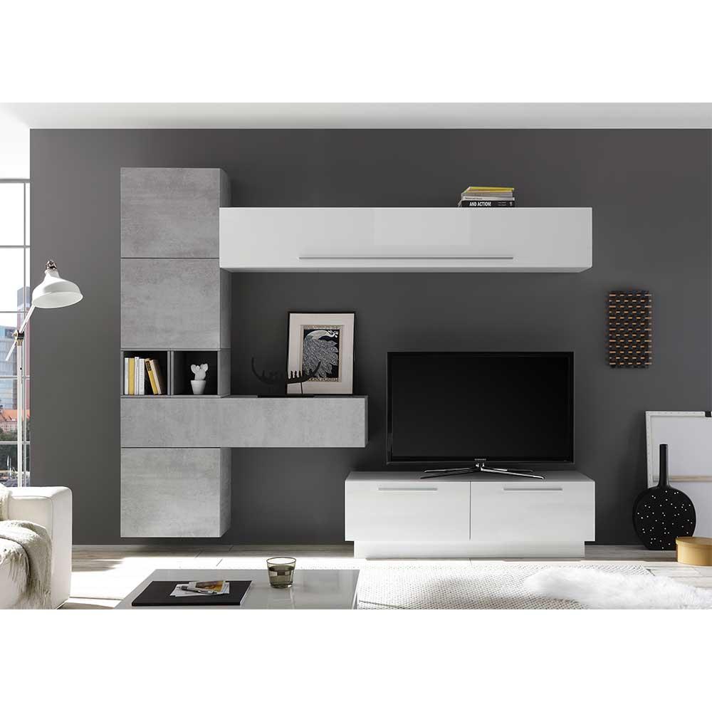 Wohnwand in Beton Grau Weiß Hochglanz (achtteilig)