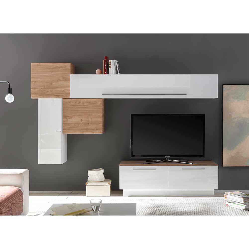 TV Wohnwand in Weiß Hochglanz Nussbaumfarben (fünfteilig)