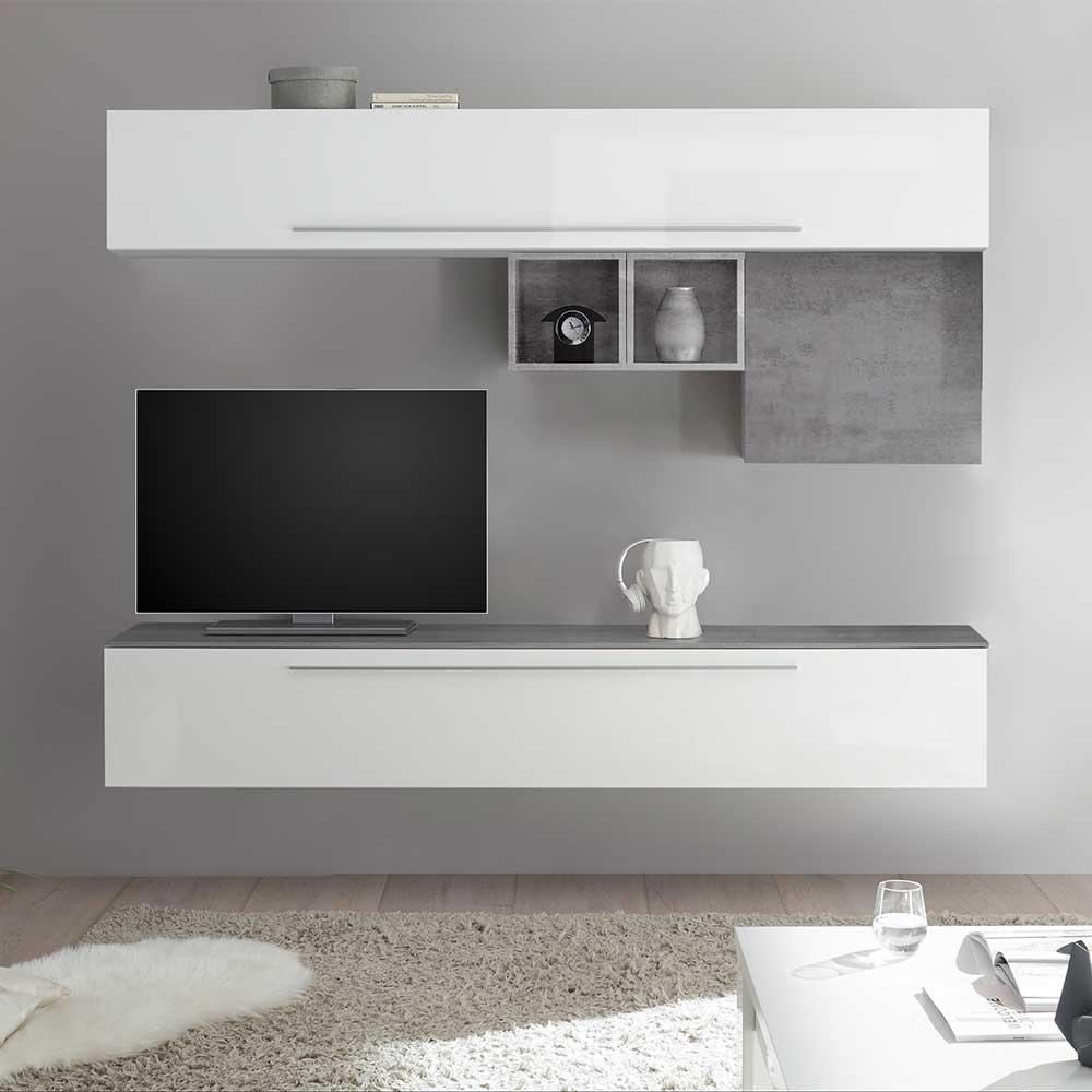 TV Wohnwand in Beton Grau Weiß Hochglanz (fünfteilig)