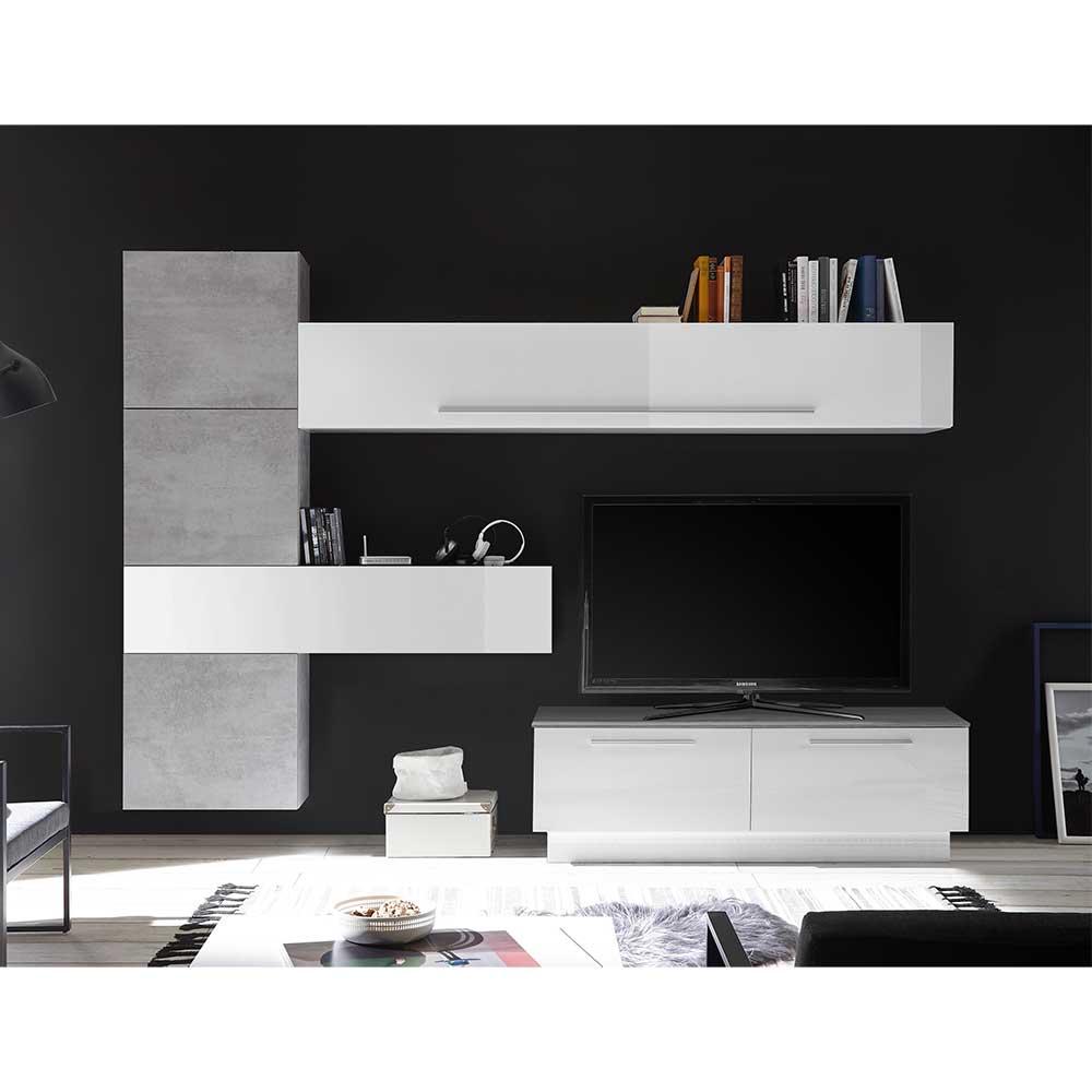 Wohnwand in Beton Grau und Weiß Hochglanz 265 cm breit (sechsteilig)