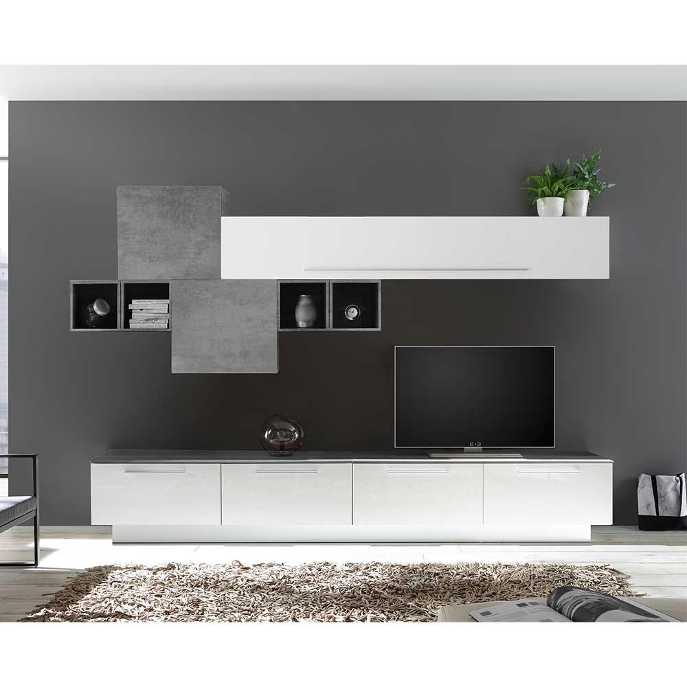 Design Wohnzimmer Wohnwand in Weiß Hochglanz und Beton Grau modern (neunteilig)