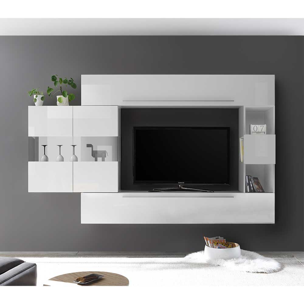Moderne Wohnwand in Weiß hängend (vierteilig)