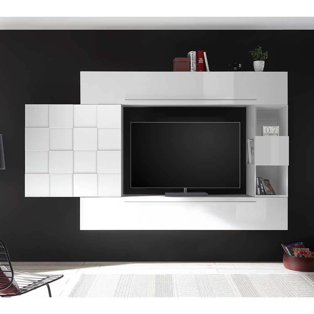 Hochglanz Wohnwand in Weiß hängend (vierteilig)