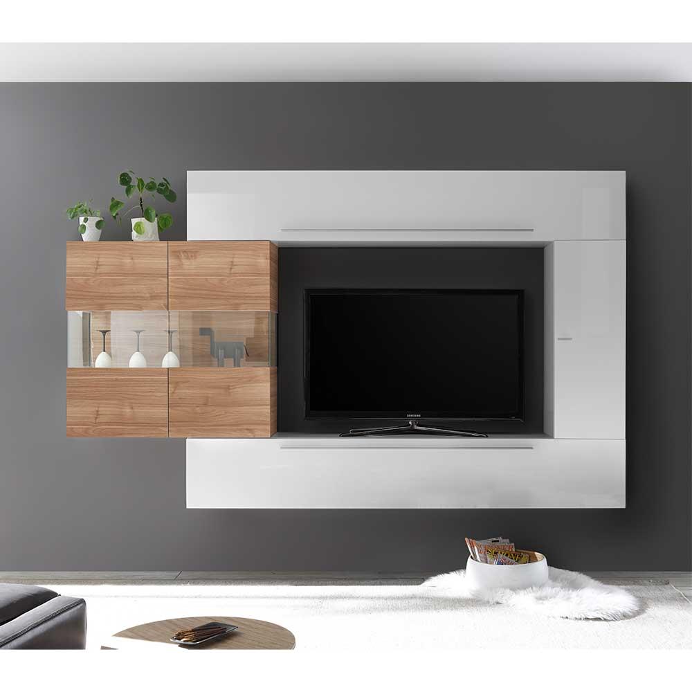 TV Wohnwand in Weiß Hochglanz und Nussbaumfarben 260 cm breit (vierteilig)