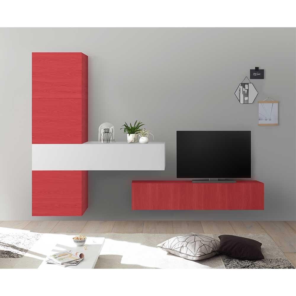 Design Wohnwand in Rot und Weiß Hochglanz modern (fünfteilig)