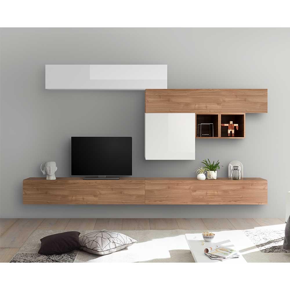 TV Wohnwand in Weiß Hochglanz und Nussbaum Optik hängend (siebenteilig)