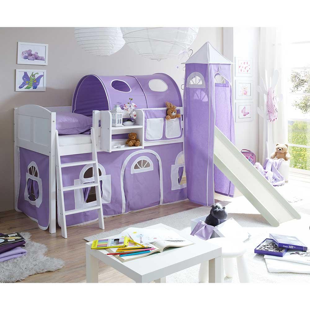 Kinder Einzelbett in Weiß und Lila Kiefer Massivholz und Webstoff