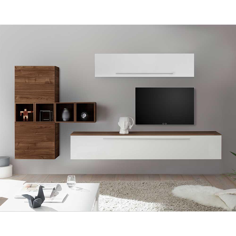 Moderne Wohnzimmerwand in Weiß Hochglanz und Nussbaum Optik hängend  (10-teilig)