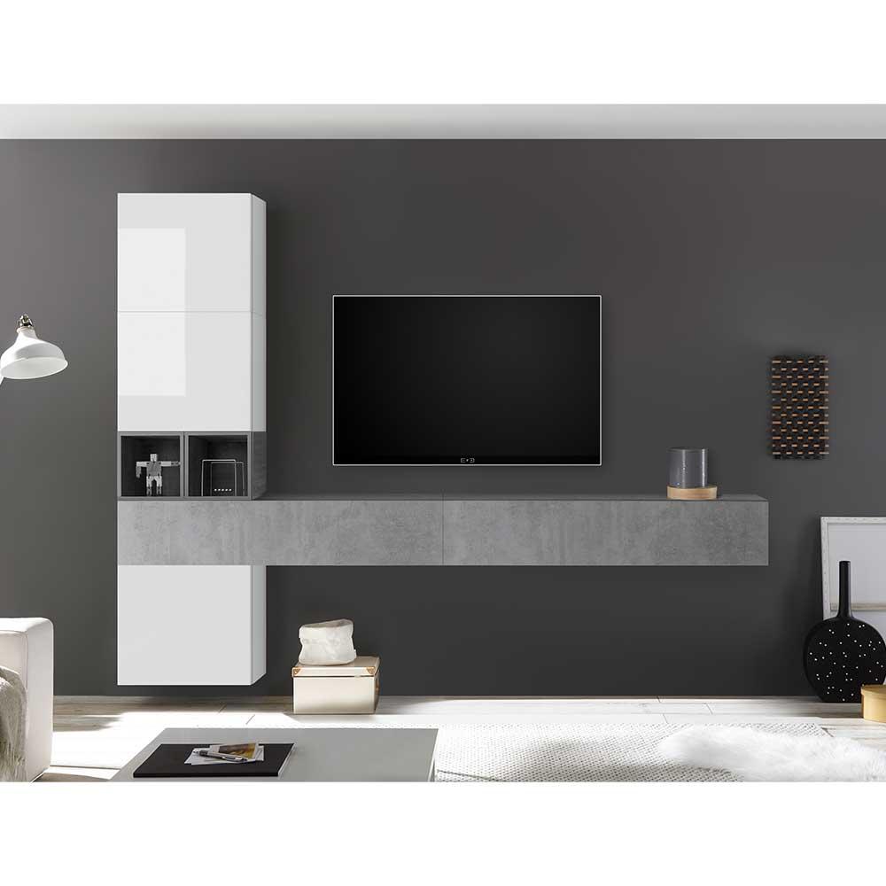TV Wohnwand in Beton Grau und Hochglanz Weiß modern (siebenteilig)