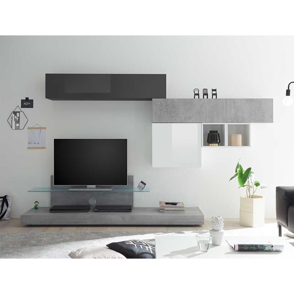 Design Wohnwand in Beton Grau und Anthrazit Hochglanz Weiß Hochglanz (sechsteilig)