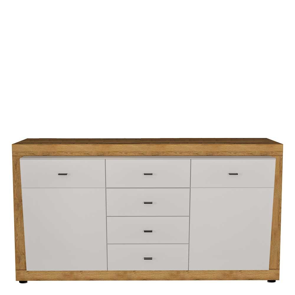 Sideboard in Wildeichefarben und Weiß Hochglanz 160 cm breit