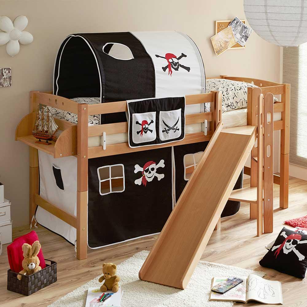 Kinder Piratenbett mit Rutsche Buche Massivholz | Kinderzimmer > Kinderbetten > Etagenbetten | Massivio