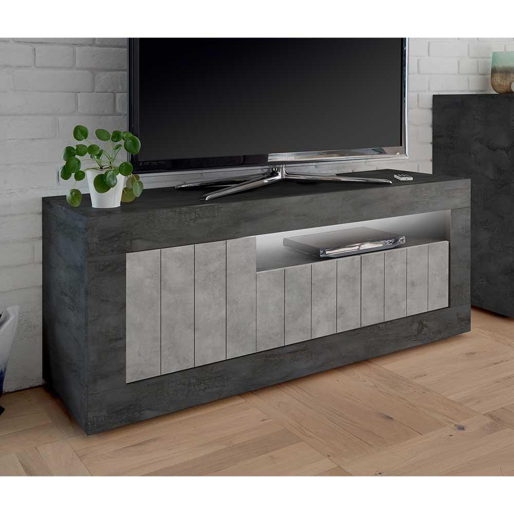 TV Möbel in Beton Grau und Dunkelgrau Türen