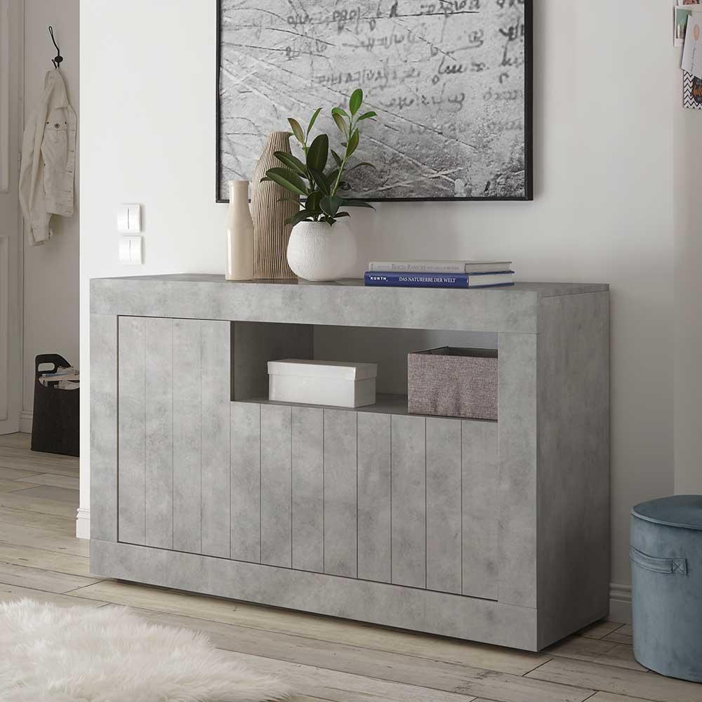Design Kommode in Beton Grau 3-türig