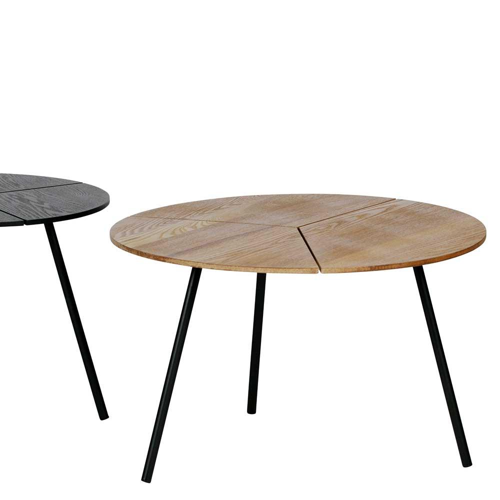 Rundes Couchtisch Set in Schwarz und Esche furniert modern (dreiteilig)