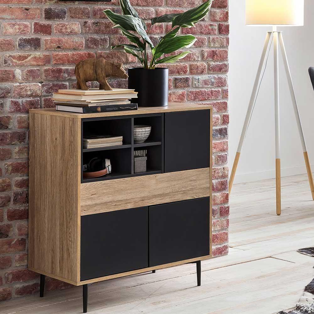 Design Kommode in Anthrazit und Holz Naturfarben Skandi Design