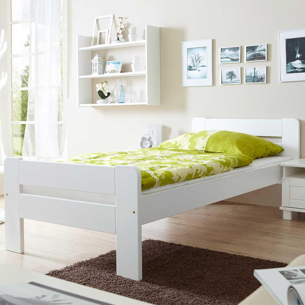 Einzelbettgestell in Weiß Kiefer Massivholz