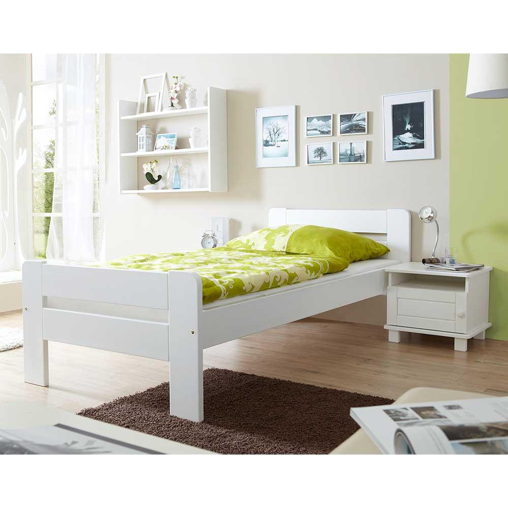 Holzbett und Nachtkonsole in Weiß Kiefer Massivholz (2-teilig)