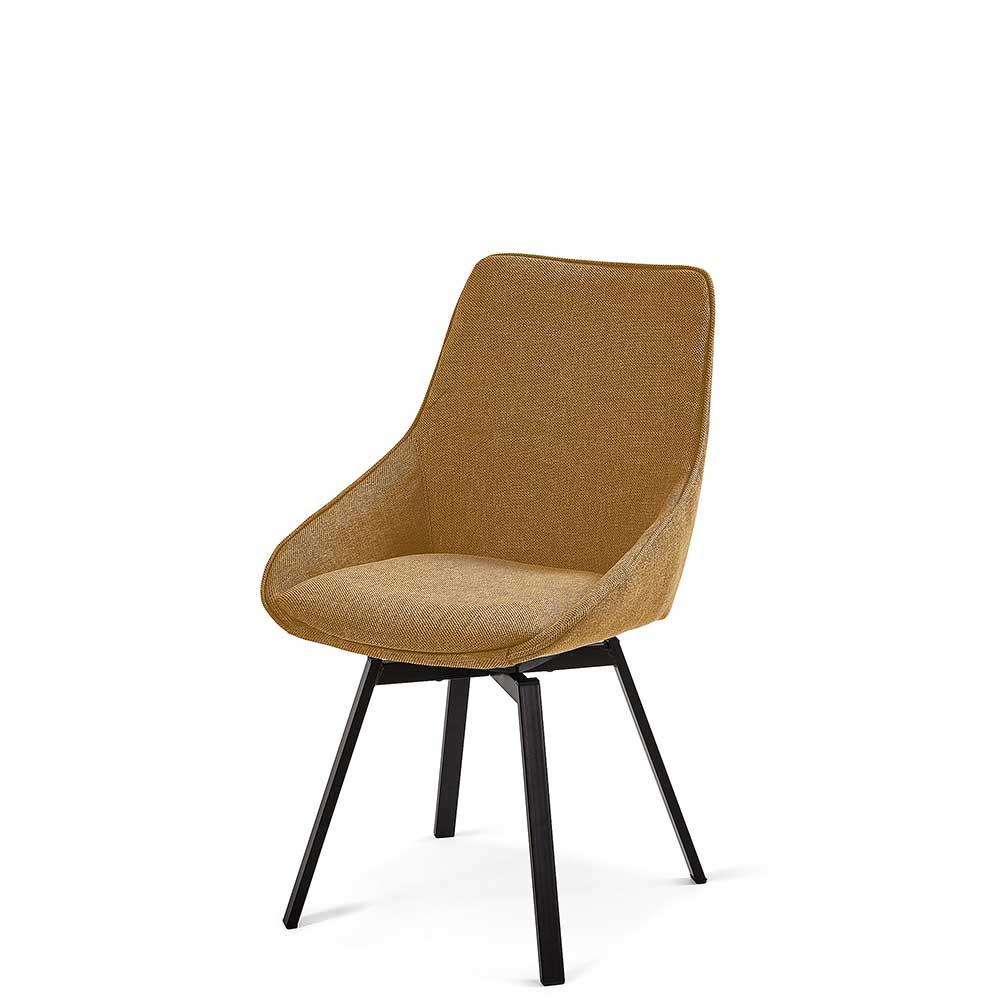 Esstisch Stühle in Ocker Stoff vier Stuhlbeinen aus Stahl (2er Set)