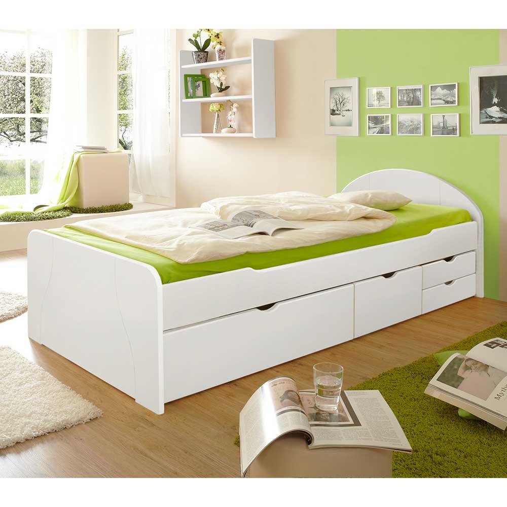 Schubkastenbett in Weiß Kiefer Massivholz