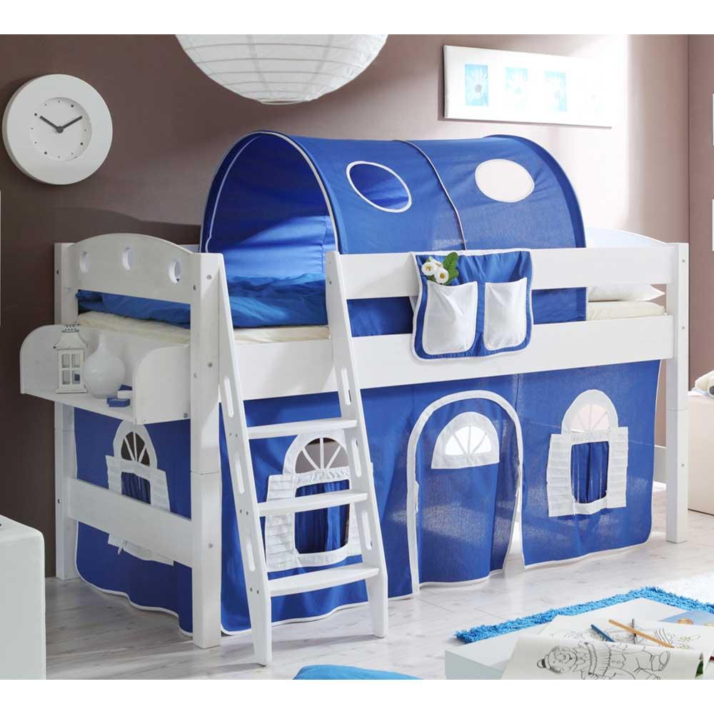 Kinder Einzelbett halbhoch Tunnel und Vorhang in Blau