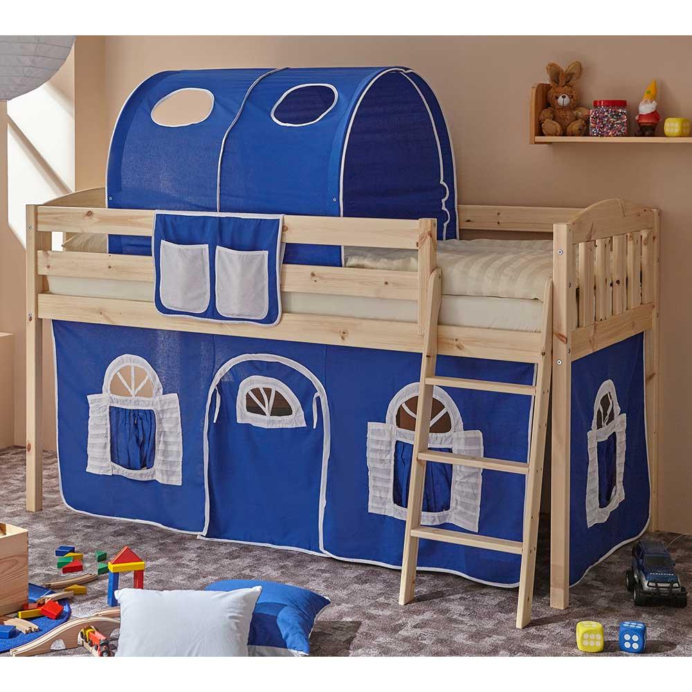Kinder Einzelbett mit Stofftunnel und Vorhang in Blau halbhoch
