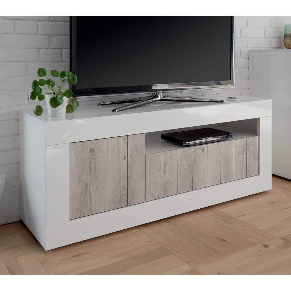 TV Möbel in Weiß Hochglanz Industry Stil