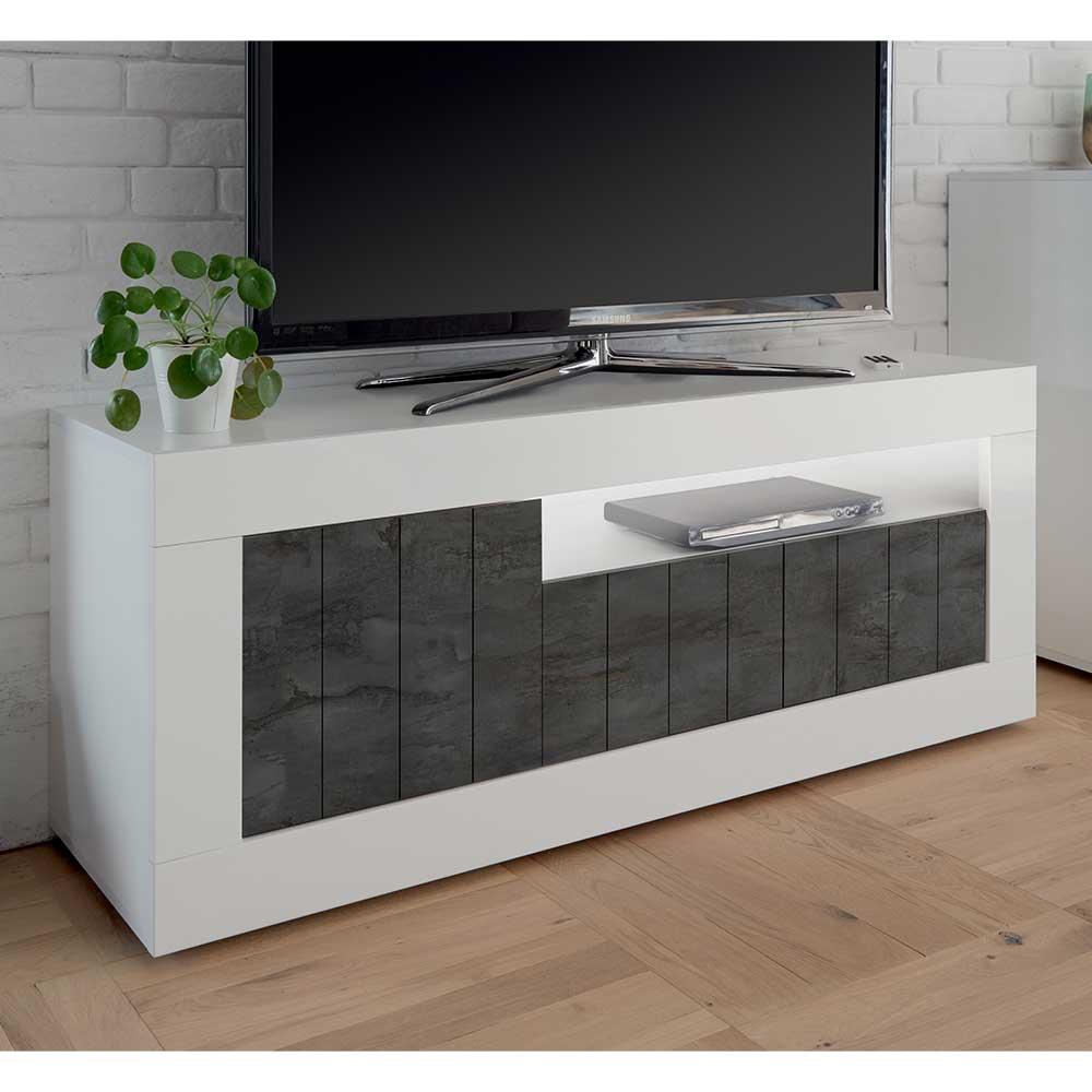 TV Lowboard in dunkel Grau Weiß Hochglanz
