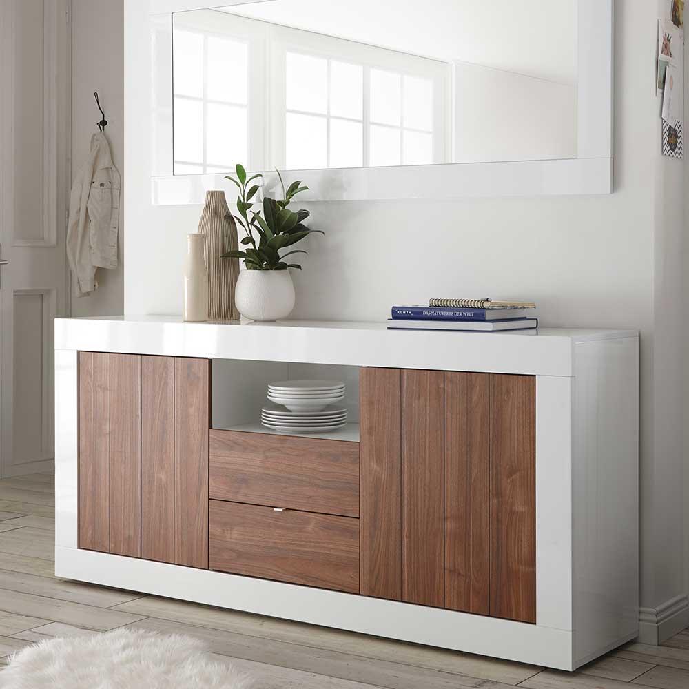 Design Sideboard in Weiß Hochglanz und Nussbaumfarben modern