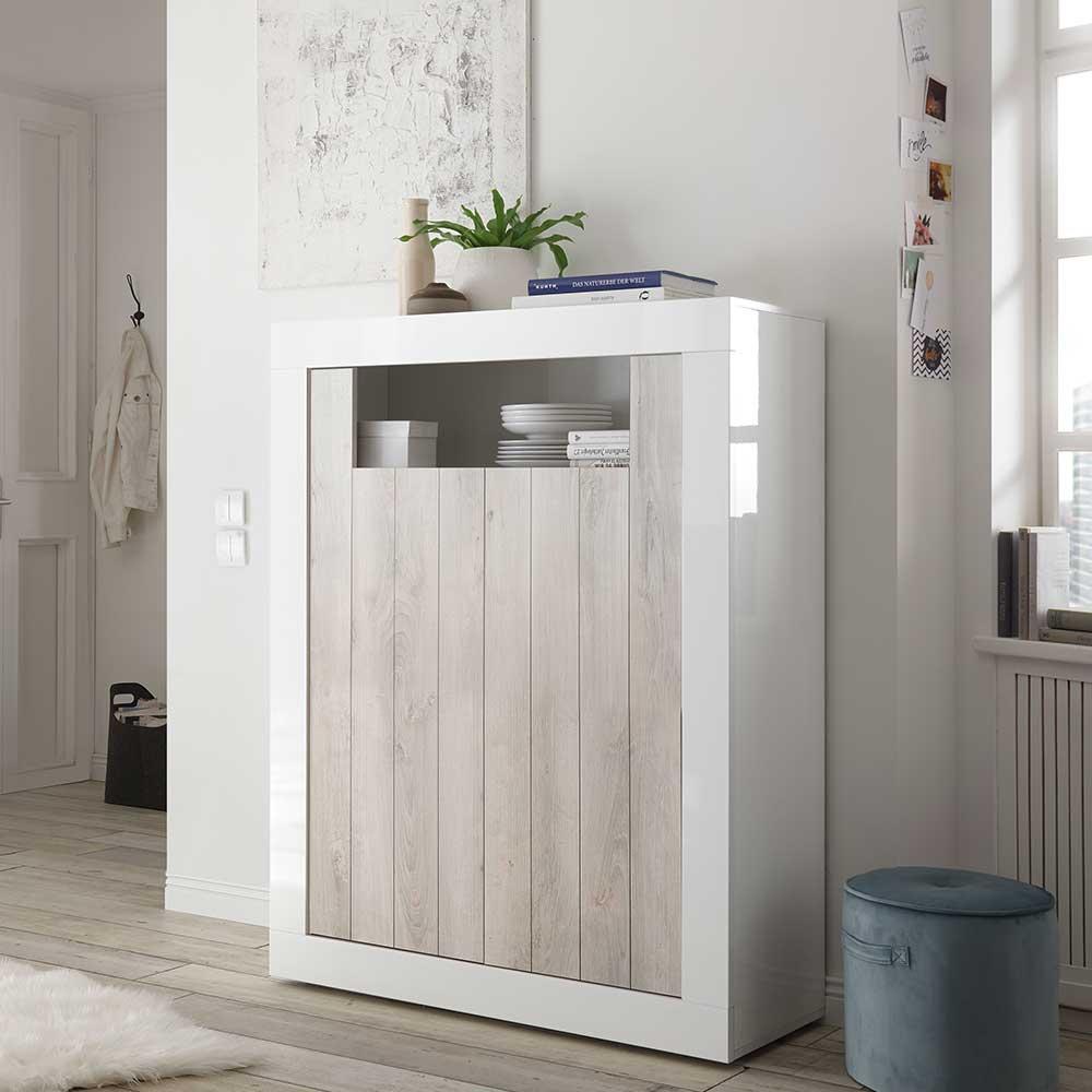 Wohnzimmer Kommode in Weiß Hochglanz und Pinie Weiß Dekor Sockel   Wohnzimmer > Schränke > Kommoden   Homedreams