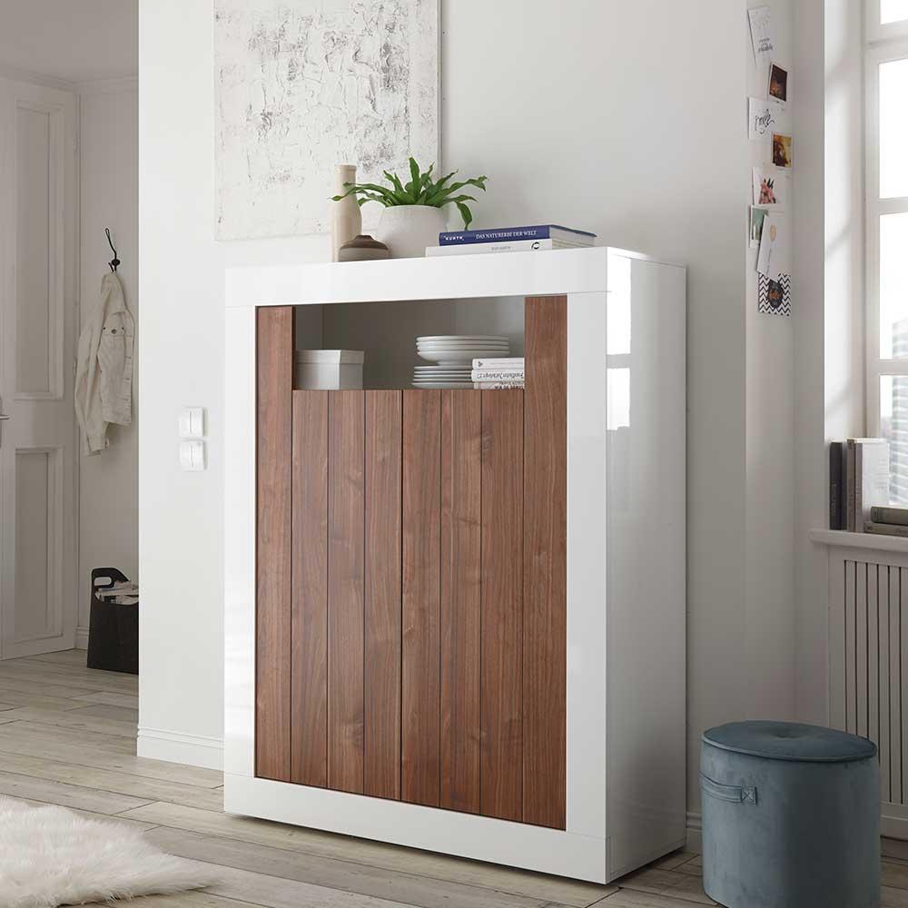 Design Kommode in Weiß Hochglanz und Nussbaumfarben 110 cm breit