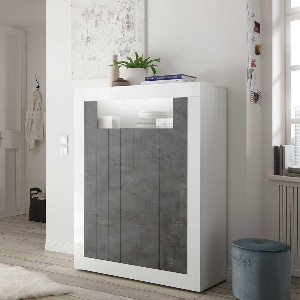 Esszimmer Kommode in Weiß Hochglanz und Dunkelgrau 110 cm breit