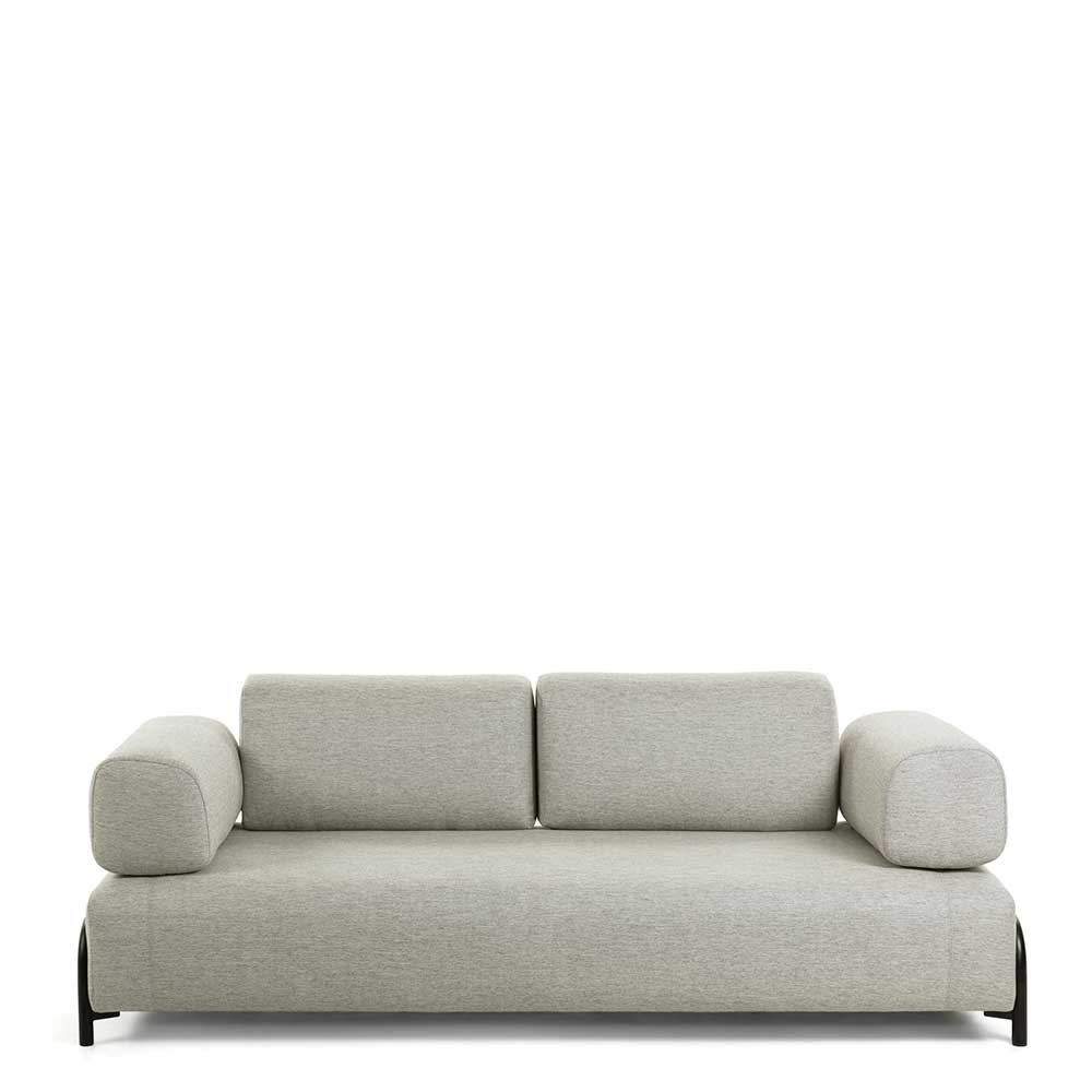 Zweisitzer Sofa in Beige Stoff Armlehnen