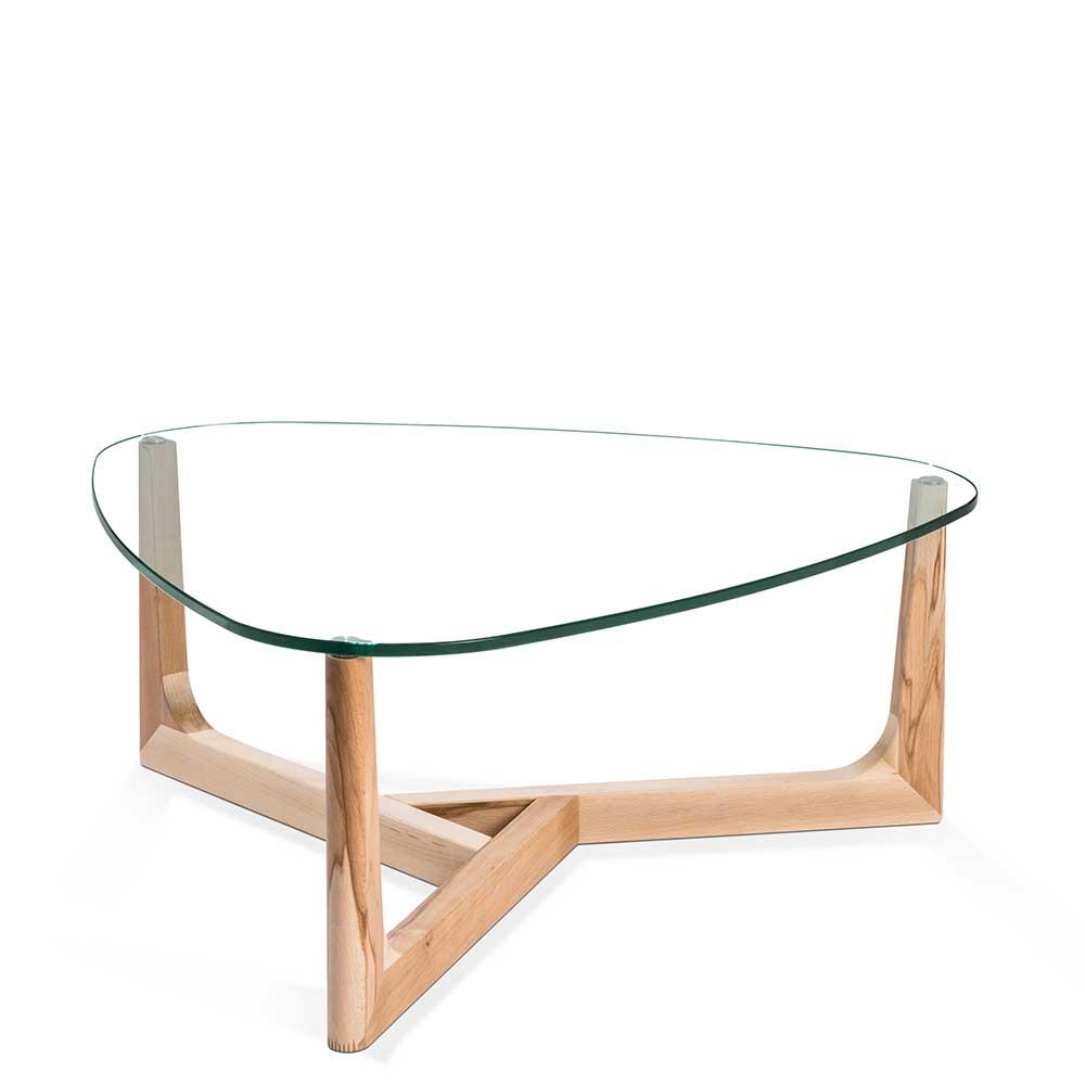 Glastisch aus Kernbuche Massivholz Wankelform | Wohnzimmer > Tische > Glastische | Weiß | Glas - Kernbuche - Massivholz - Massiv - Holz | 4Home