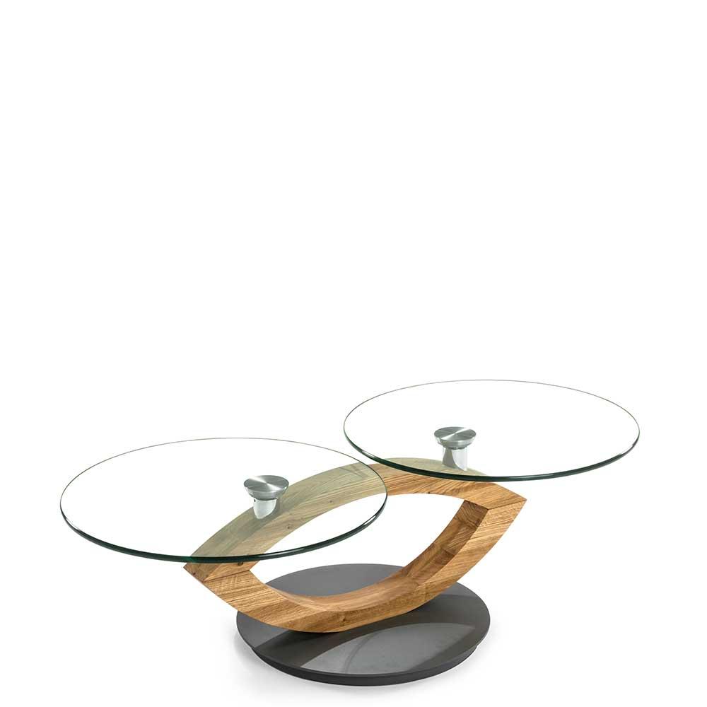 Design Couchtisch mit zwei runden Glasplatten Asteiche Massivholz