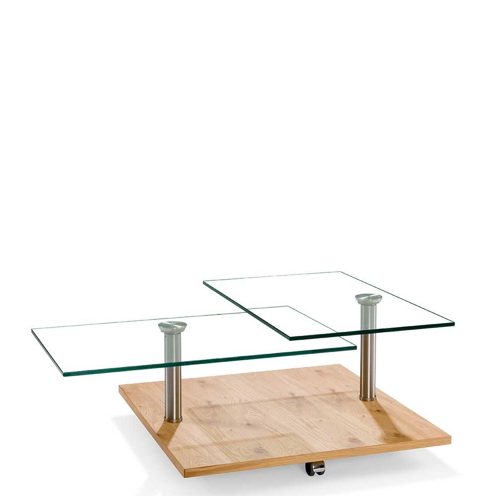 Rollen Couchtisch mit zwei Glasplatten modern