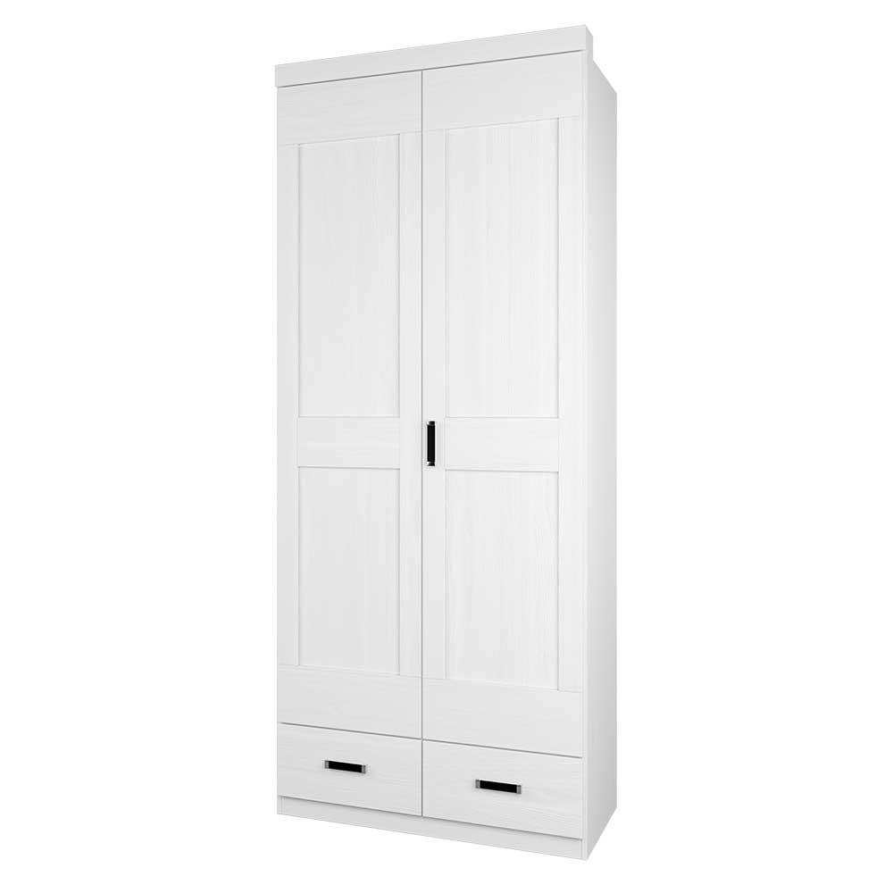 Weißer Kleiderschrank mit Pinie furniert 100 cm breit