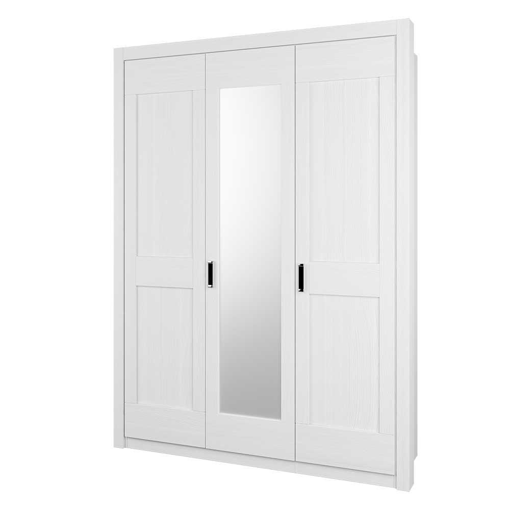 Schlafzimmer Kleiderschrank in Weiß einer Spiegeltür