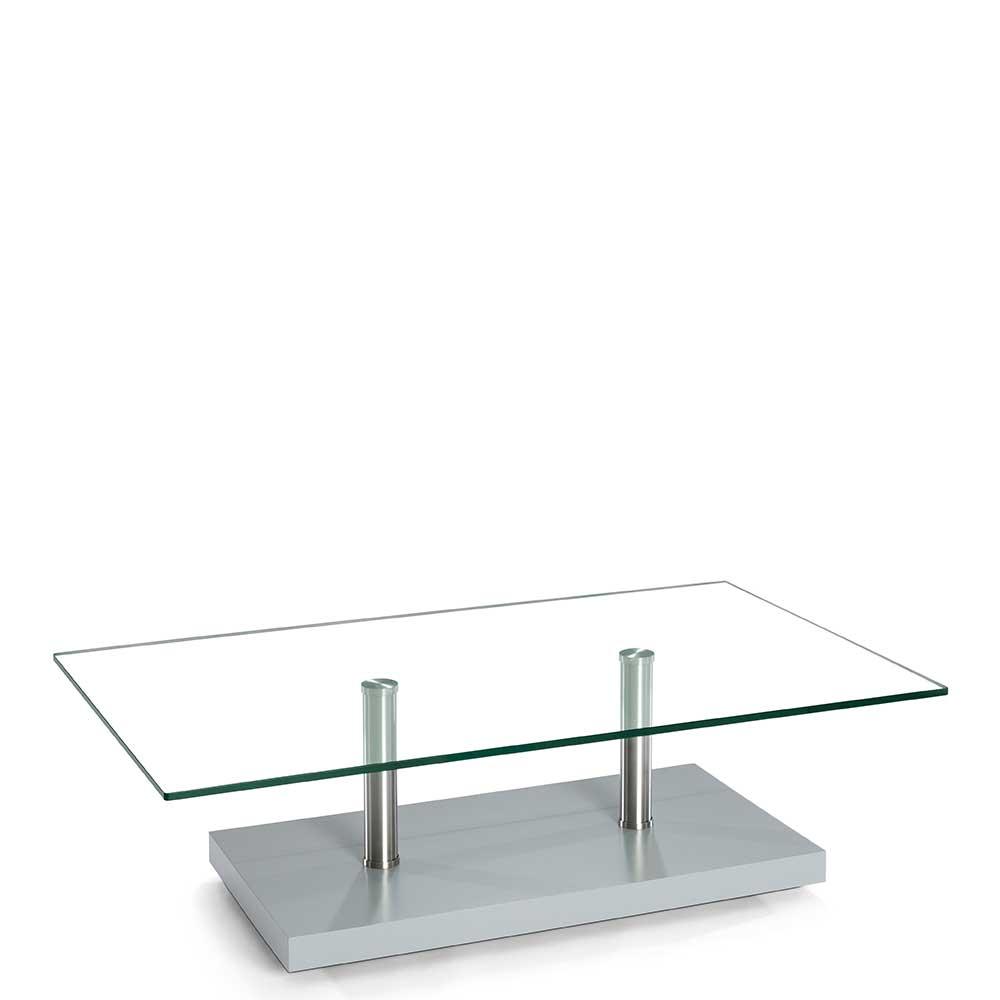 Glas Couchtisch auf Rollen 110 cm breit