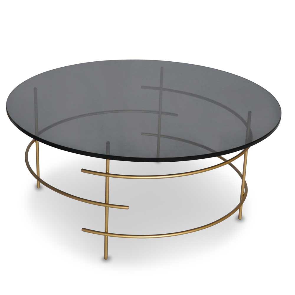 Design Couchtisch mit runder Rauchglasplatte 4-Fußgestell in Goldfarben