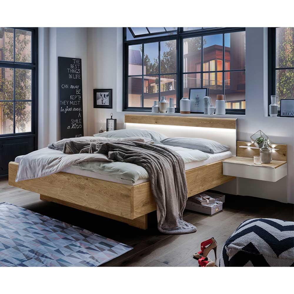 Design Doppelbett in Weiß und Eiche Furnier Schwebesockel (3-teilig)