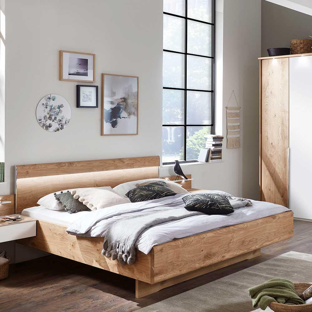 Komfortbett Eiche Echtholz furniert LED Beleuchtung