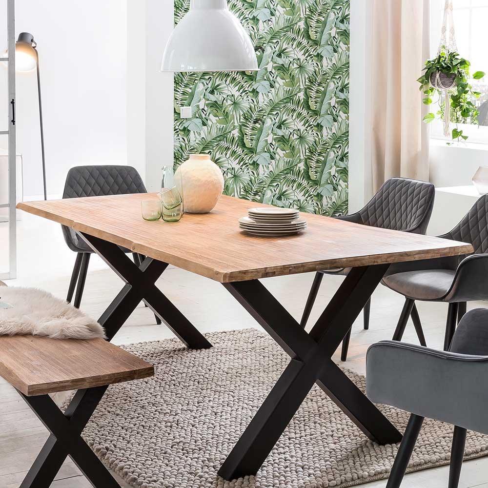 Esstisch mit Baumkante Akazie Massivholz und Metall