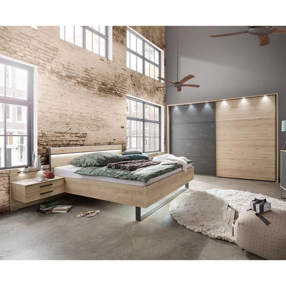 Schlafzimmer in Eichefarben und Dunkelgrau Doppelbett (vierteilig)